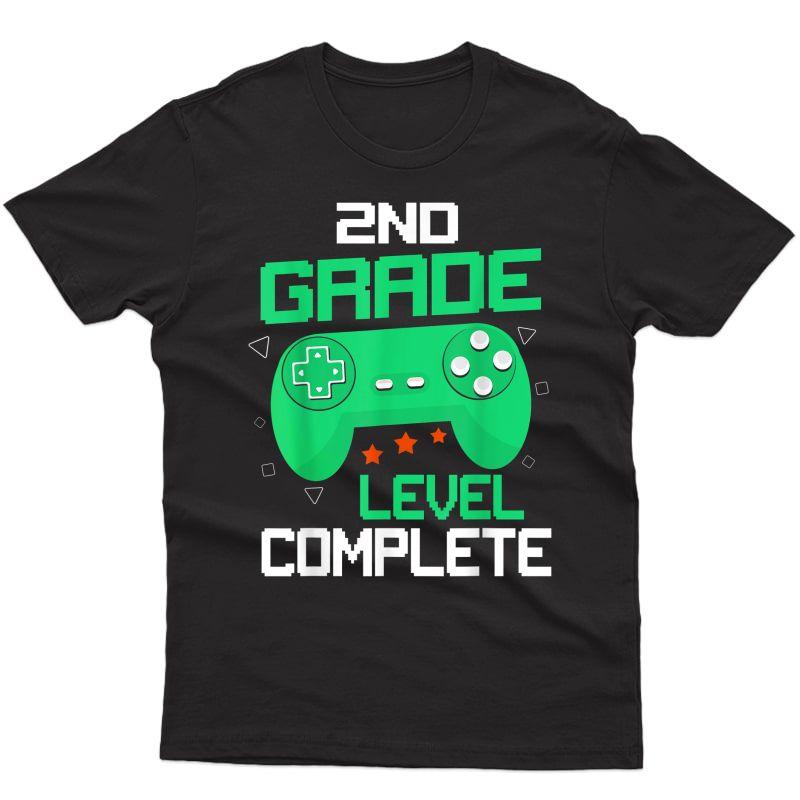 2nd Grade Level-complete Gamer Gaming Graduation Tshirt