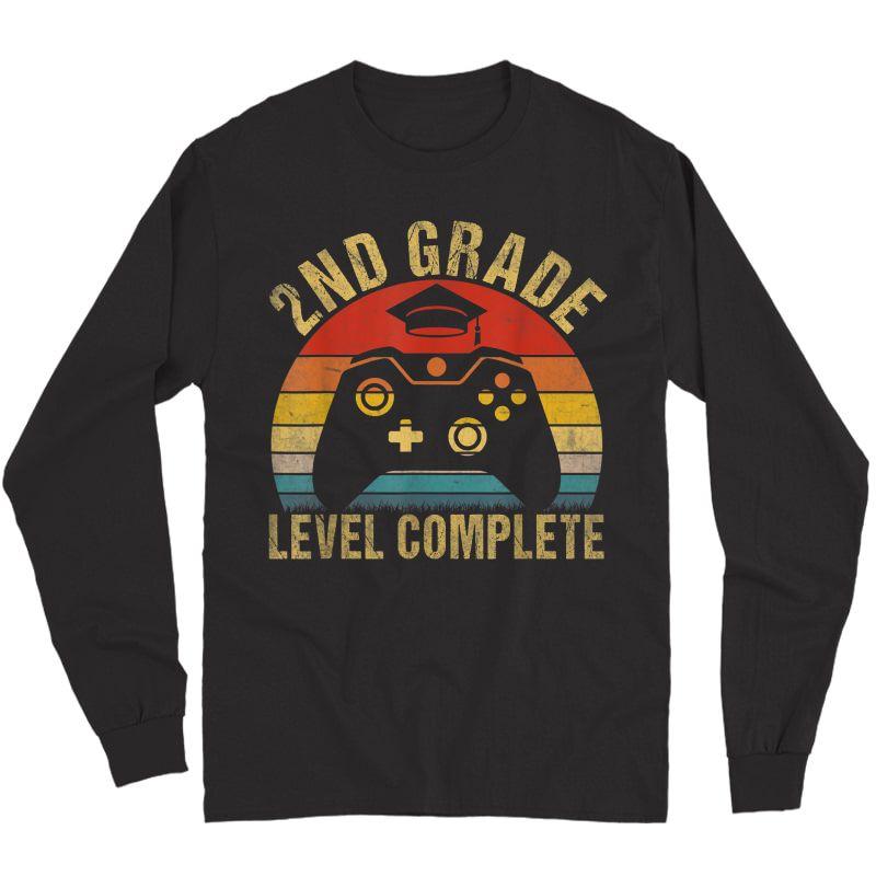 2nd Grade Level Complete Video Gamer Graduation Gift T-shirt Long Sleeve T-shirt