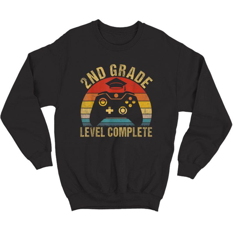 2nd Grade Level Complete Video Gamer Graduation Gift T-shirt Crewneck Sweater