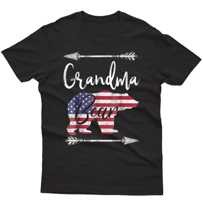 4th Of July T Shirt For Grandma Bear American Flag Usa