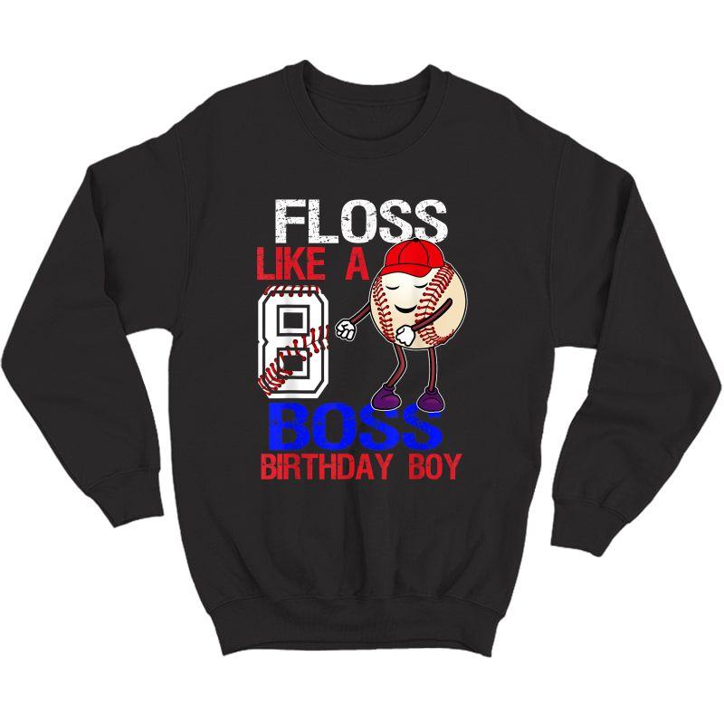8 Year Old Birthday Baseball T Shirt 8th Boy Gift Crewneck Sweater
