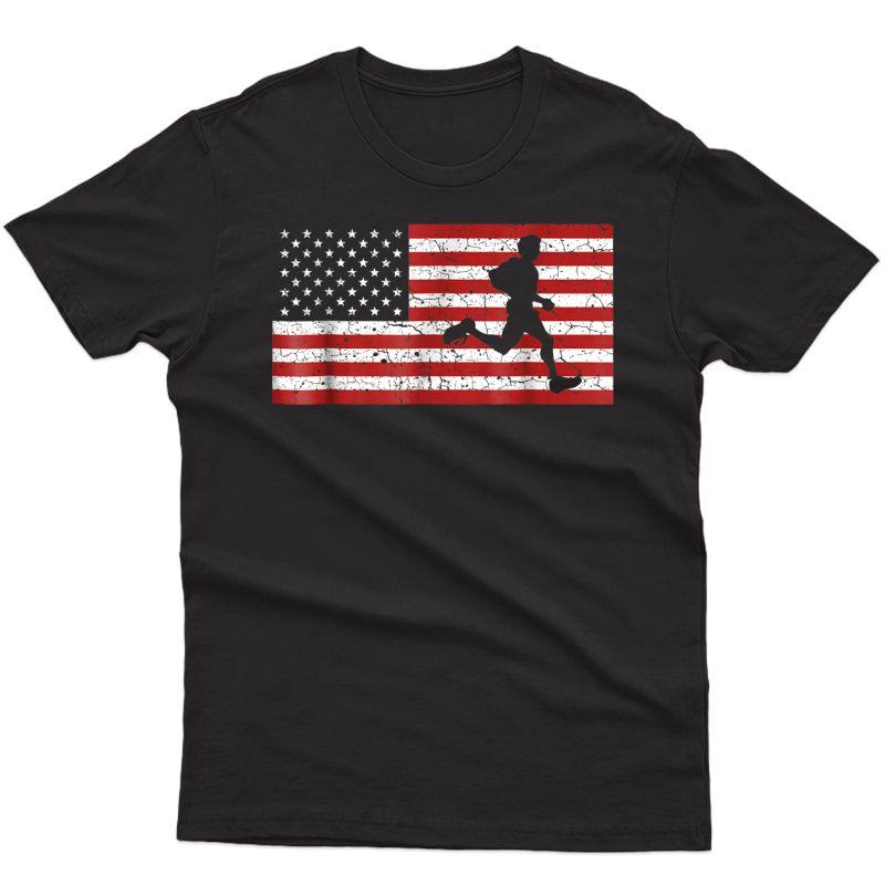 American Flag Running T-shirt Runner Gift