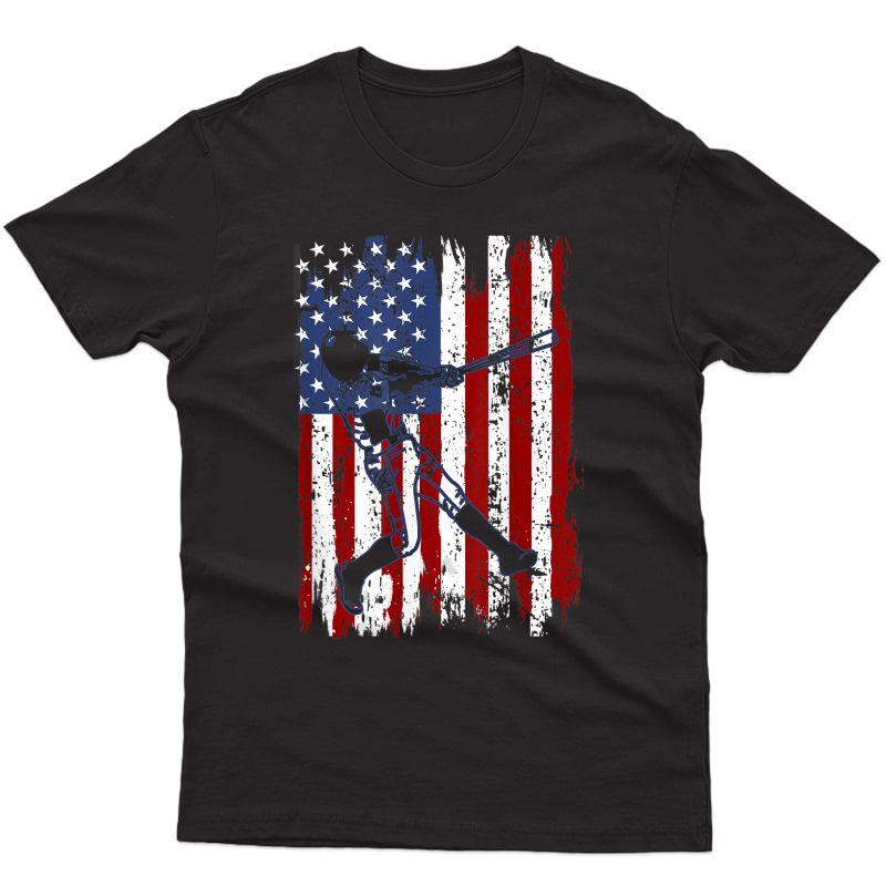 Baseball American Flag 4th Of July Patriotic T-shirt