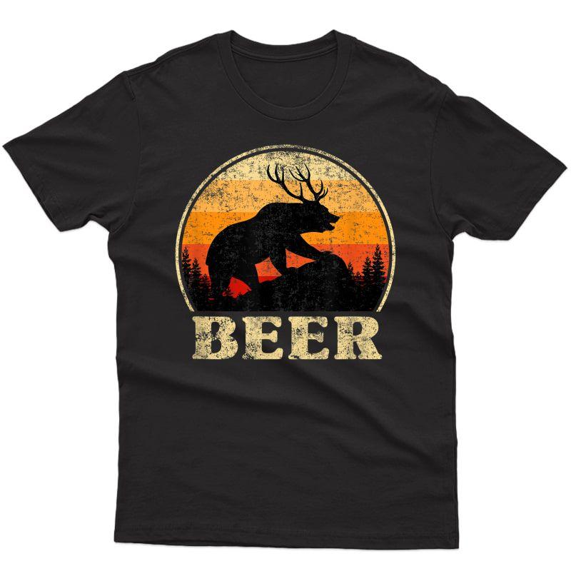 Bear Deer Funny Beer Retro Vintage St. Patrick's Day T-shirt