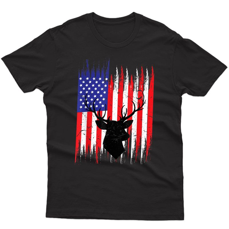 Big Rack Deer Hunting Shirt | Usa Flag Hunter Tee Gift