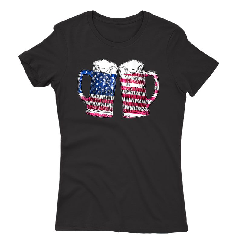Cheers Beer American Flag 4th Of July Gift Beer Lover Tank Top Shirts
