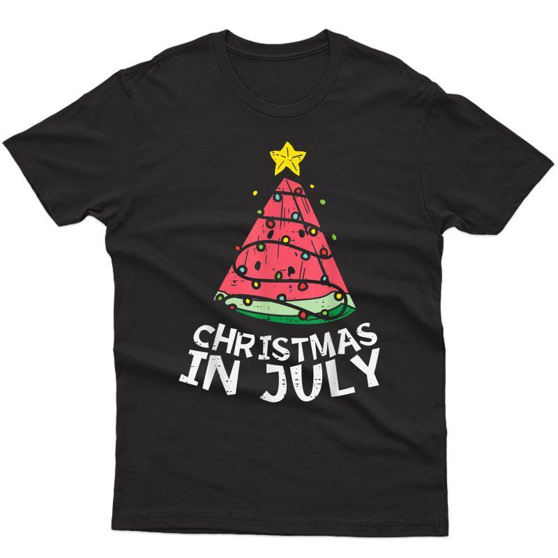Christmas In July Watermelon Xmas Tree Summer T-shirt