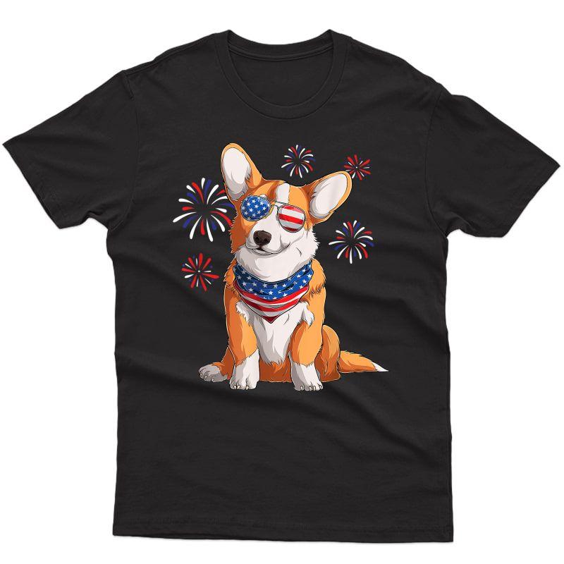 Corgi Dog American Usa Flag 4th Of July Corgi Lover T-shirt