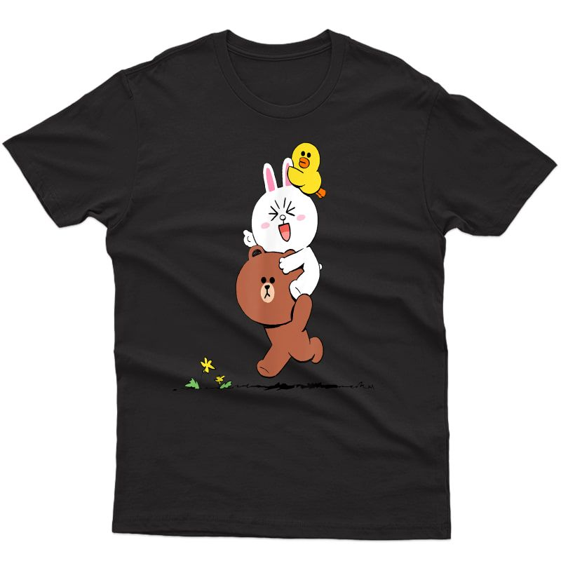 Cute Brown Bear Cony Bunny Rabbit Duck Sally Lovers Running T-shirt