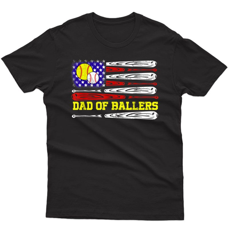 Dad Of Ballers American Flag Funny Baseball Dad Softball T-shirt