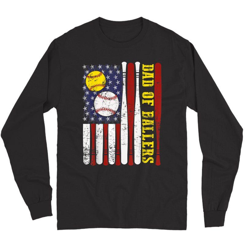 Dad Of Ballers T Shirt Funny Baseball Softball Gift From Son T-shirt Long Sleeve T-shirt