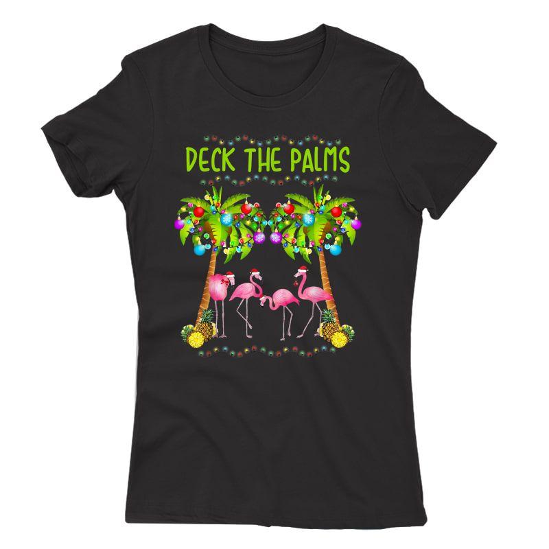 Deck The Palms Merry Flamingo Christmas Tee | Funny T-shirt