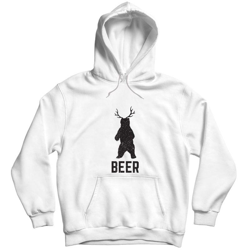 Deer Antlers Bear Beer T-shirt - Funny Craft Beer Shirt Unisex Pullover Hoodie