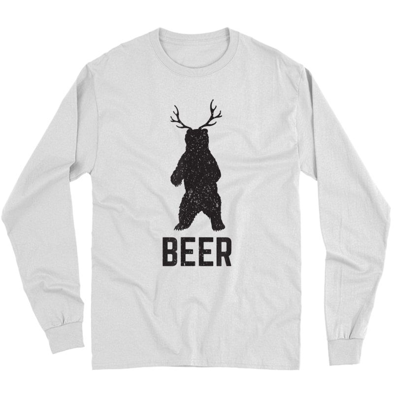Deer Antlers Bear Beer T-shirt - Funny Craft Beer Shirt Long Sleeve T-shirt