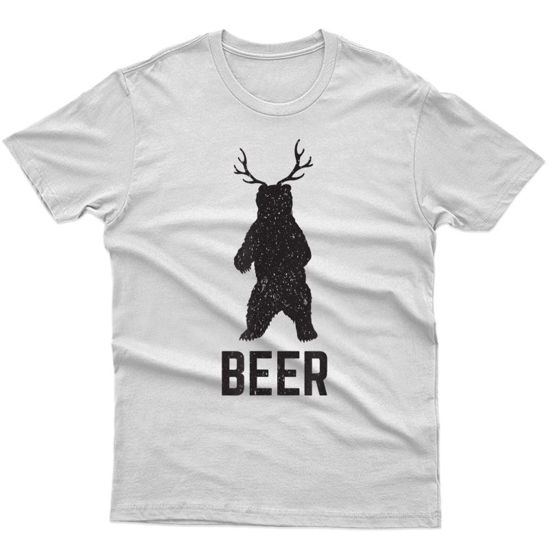 Deer Antlers Bear Beer T-shirt - Funny Craft Beer Shirt