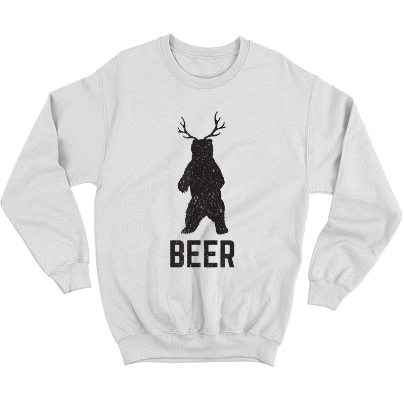 Deer Antlers Bear Beer T-shirt - Funny Craft Beer Shirt Crewneck Sweater