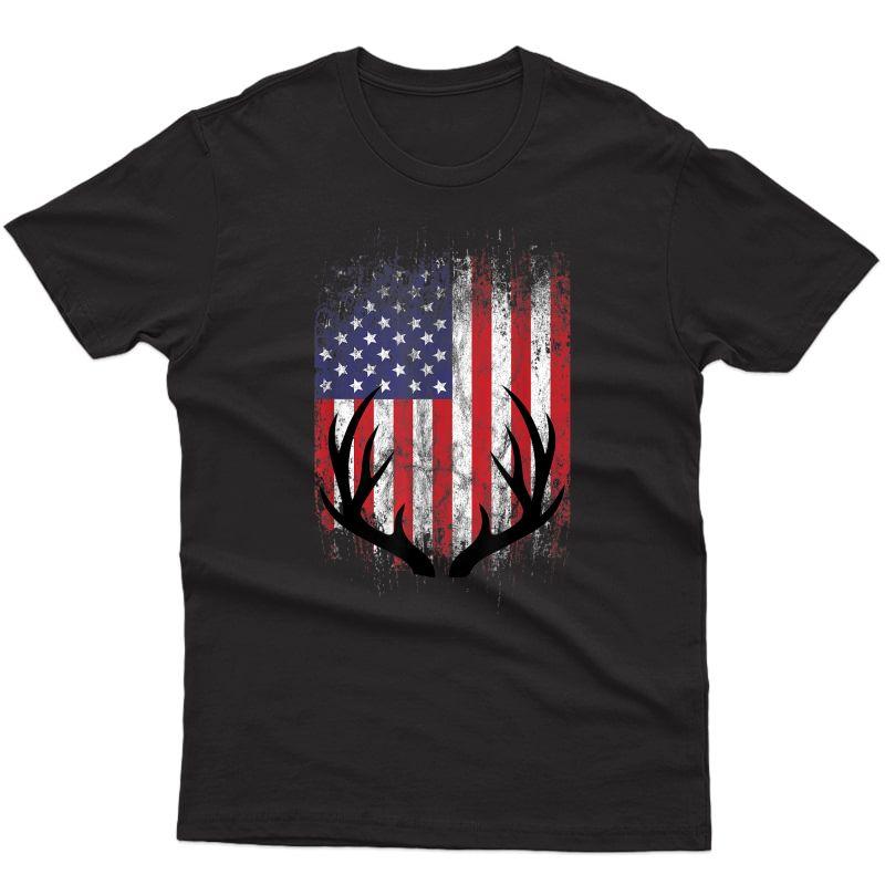 Deer Hunting American Flag Tail Buck Antlers T-shirt