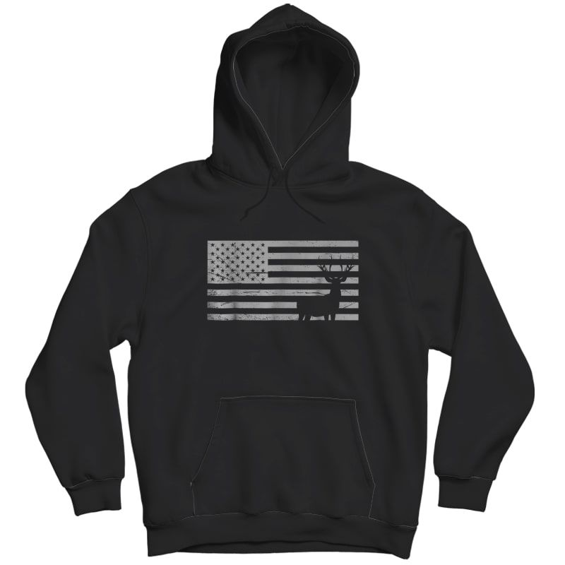 Deer Hunting And America Flag T Shirt Hunting Lover Gift Unisex Pullover Hoodie