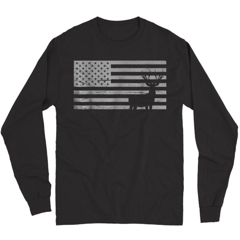 Deer Hunting And America Flag T Shirt Hunting Lover Gift Long Sleeve T-shirt
