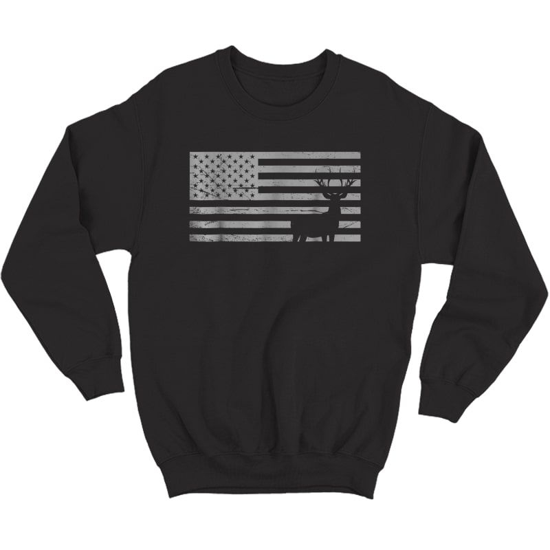 Deer Hunting And America Flag T Shirt Hunting Lover Gift Crewneck Sweater