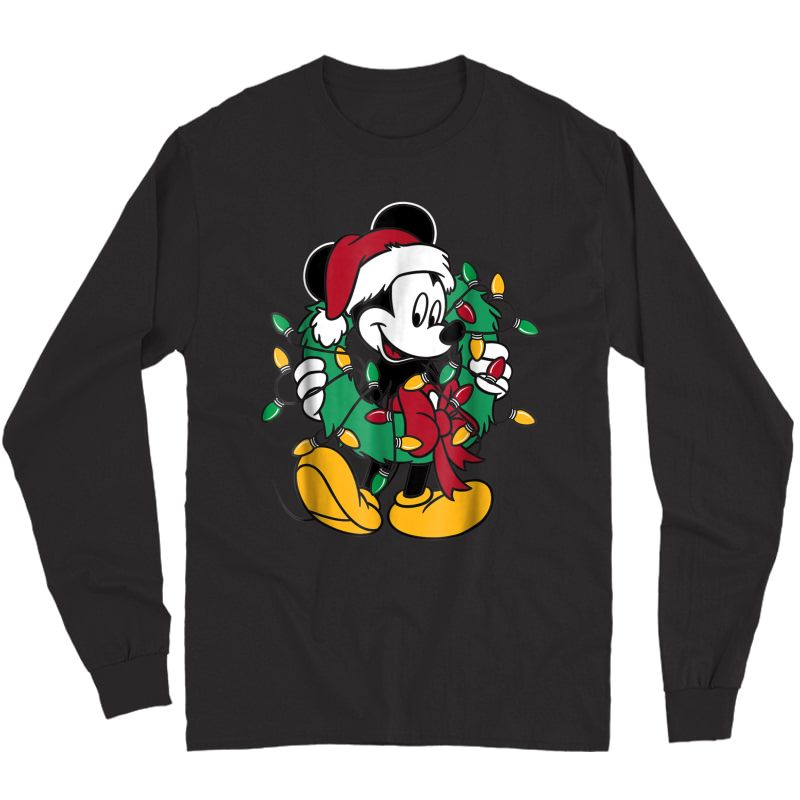 Disney Mickey Mouse Christmas Lights T-shirt Long Sleeve T-shirt