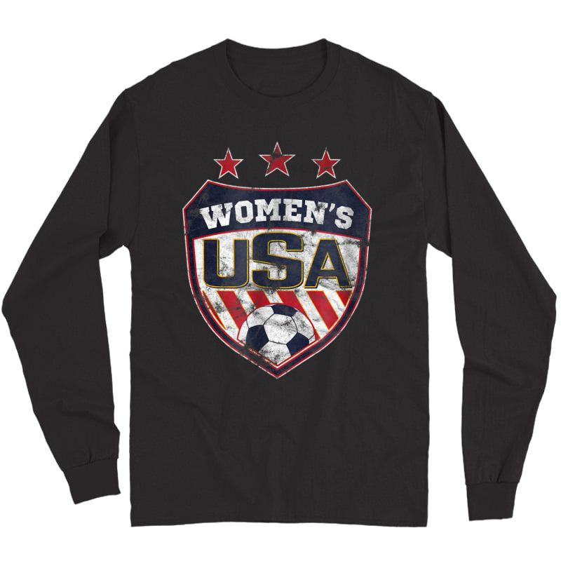 Distressed Soccer T-shirt For With Usa Shield Long Sleeve T-shirt