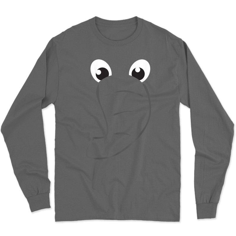 Elephant Face Shirt Cute Halloween Costume Animal Gift Long Sleeve T-shirt