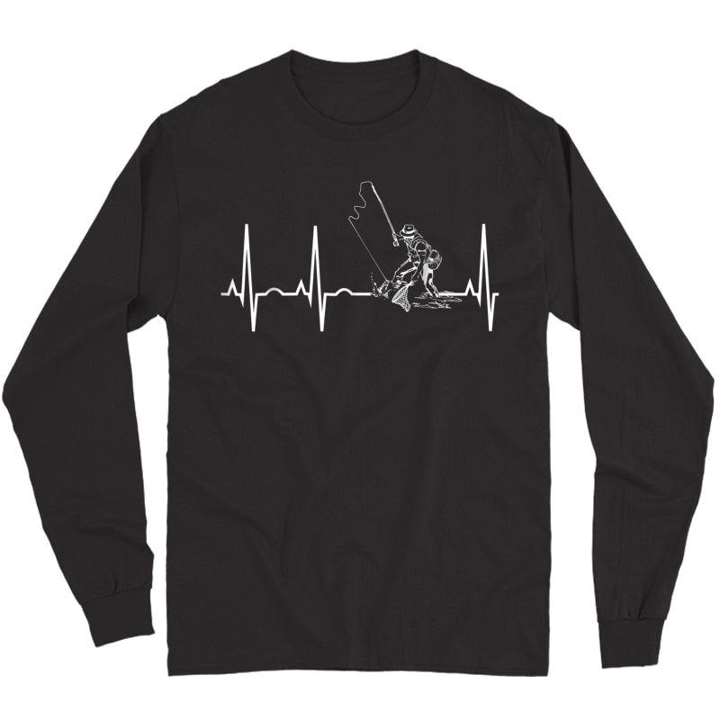 Fishing Heartbeat T-shirt - Best Gift Shirt For Fisherman Long Sleeve T-shirt