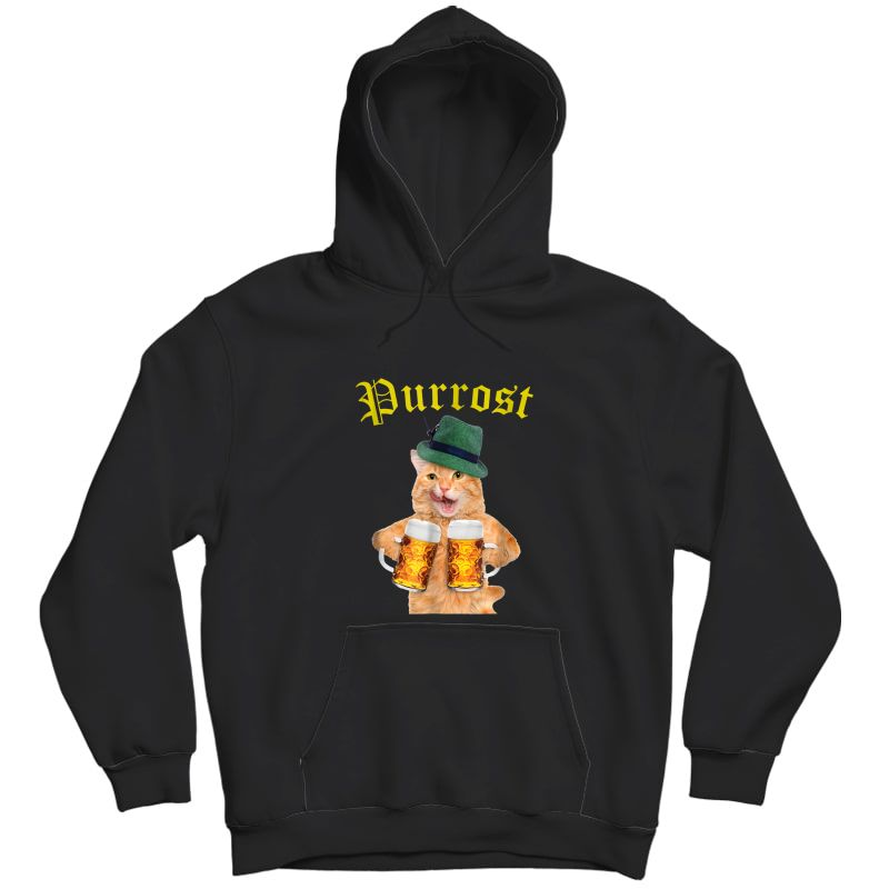 Funny Oktoberfest Cat Shirt Kitty Drinking Beer Purrost Unisex Pullover Hoodie