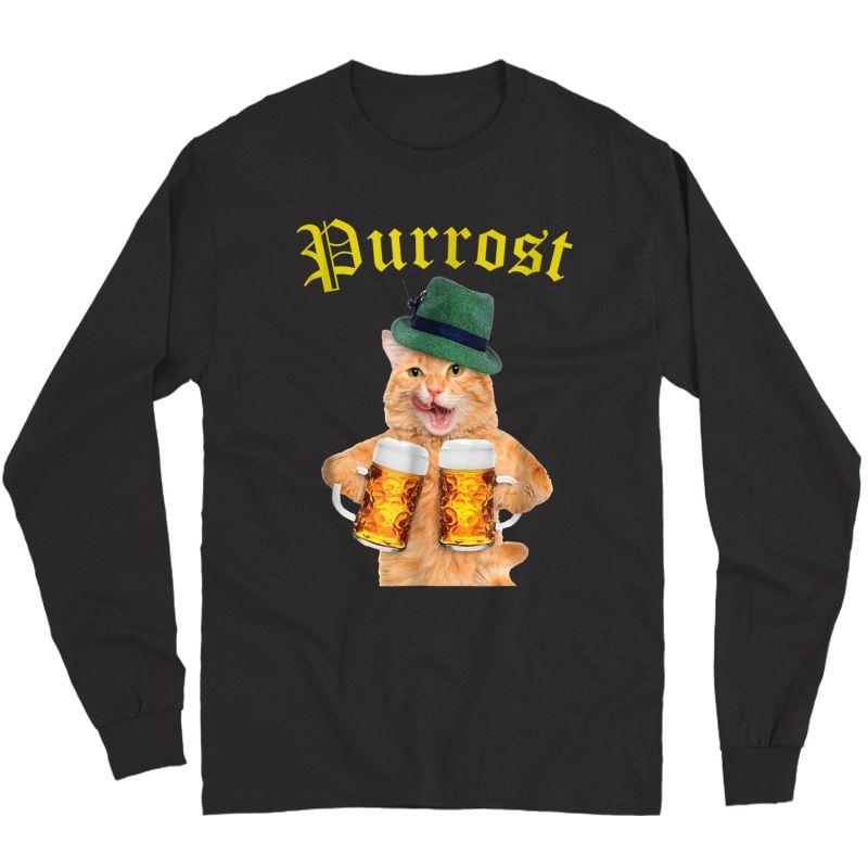 Funny Oktoberfest Cat Shirt Kitty Drinking Beer Purrost Long Sleeve T-shirt