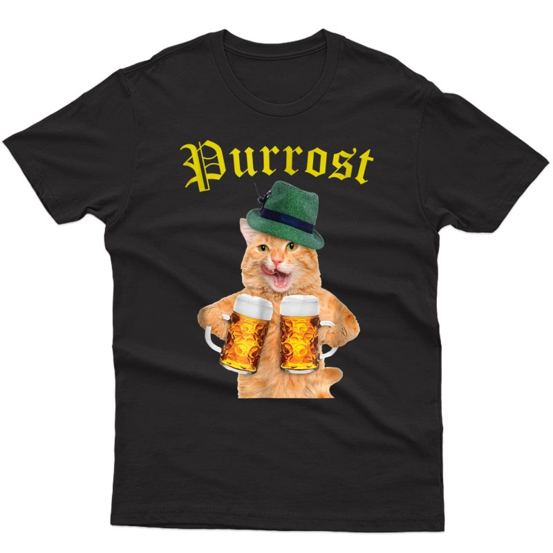 Funny Oktoberfest Cat Shirt Kitty Drinking Beer Purrost