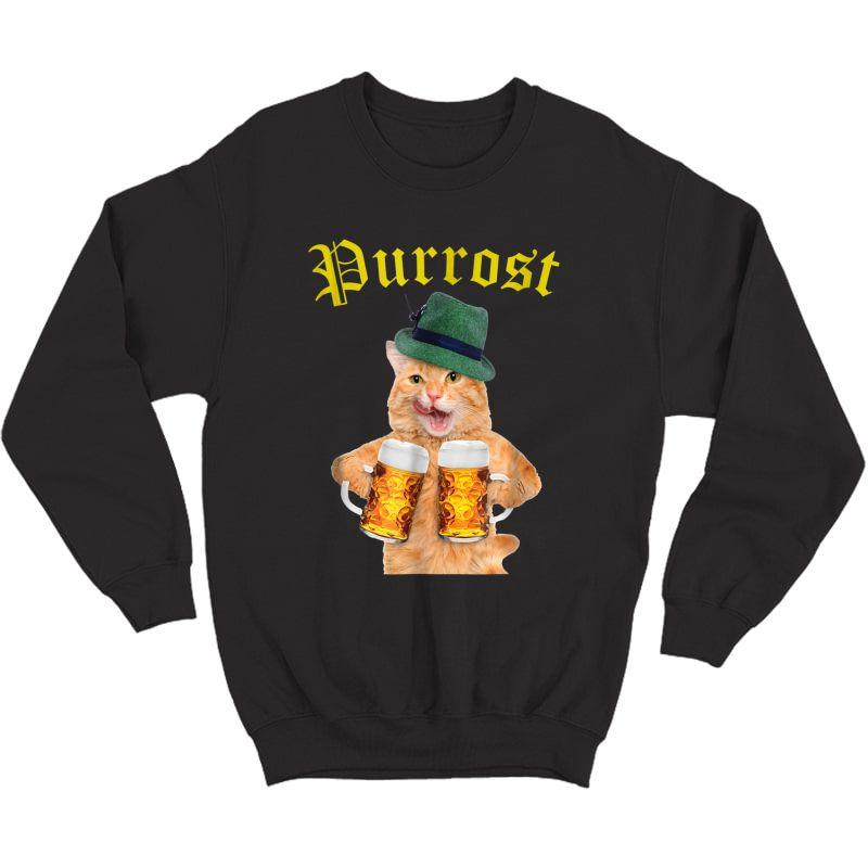 Funny Oktoberfest Cat Shirt Kitty Drinking Beer Purrost Crewneck Sweater