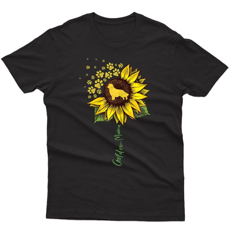 Golden Mom Sunflower Golden Retriever Lover Gifts Dog Mama T-shirt