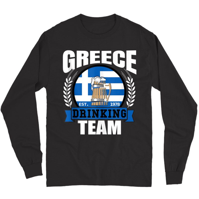 Greece Drinking Team Greek Flag Beer Party Grecian Gift Tank Top Shirts Long Sleeve T-shirt