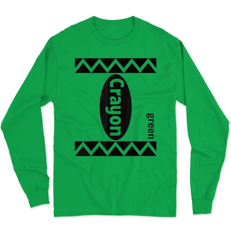 Green Crayon Box Halloween Costume Couple Group Adults T-shirt Long Sleeve T-shirt
