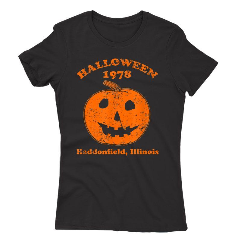 Halloween 1978 Holiday Spooky Gift Myers Pumpkin Haddonfield T-shirt