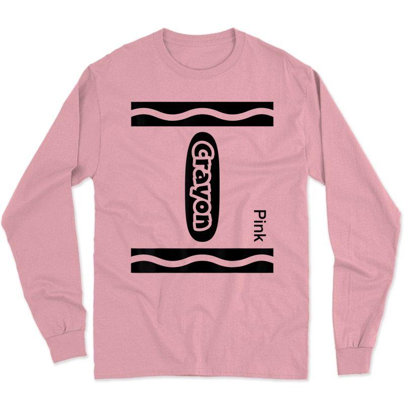 Halloween Pink Crayon Costume Funny T-shirt Long Sleeve T-shirt