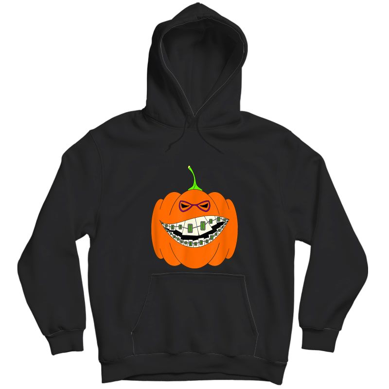 Halloween Pumpkin Braces Orthodontics Horror Dentist T-shirt Unisex Pullover Hoodie