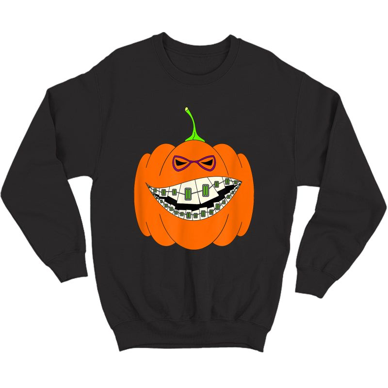 Halloween Pumpkin Braces Orthodontics Horror Dentist T-shirt Crewneck Sweater