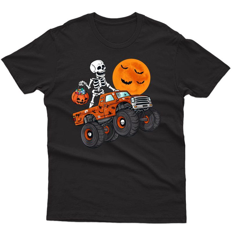Halloween Skeleton Riding Monster Truck T-shirt