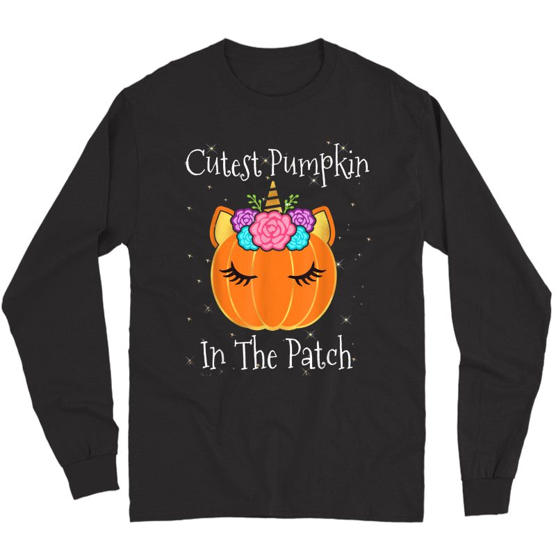 Halloween Unicorn Cutest Pumpkin In The Patch Girls T-shirt Long Sleeve T-shirt