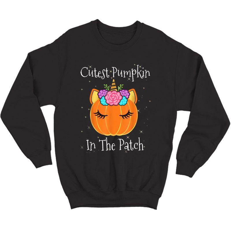 Halloween Unicorn Cutest Pumpkin In The Patch Girls T-shirt Crewneck Sweater