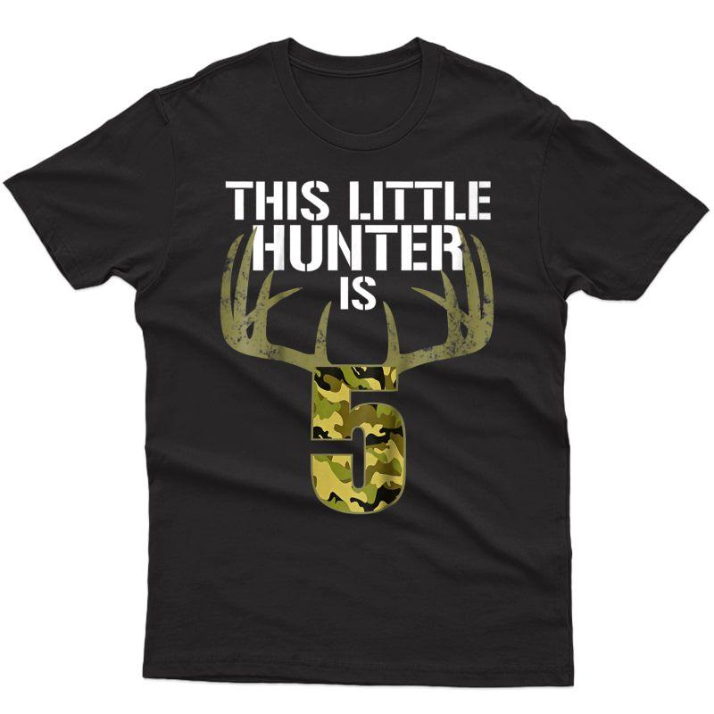 5th Birthday Hunting T Shirt Funny Deer Hunter Gift Tee