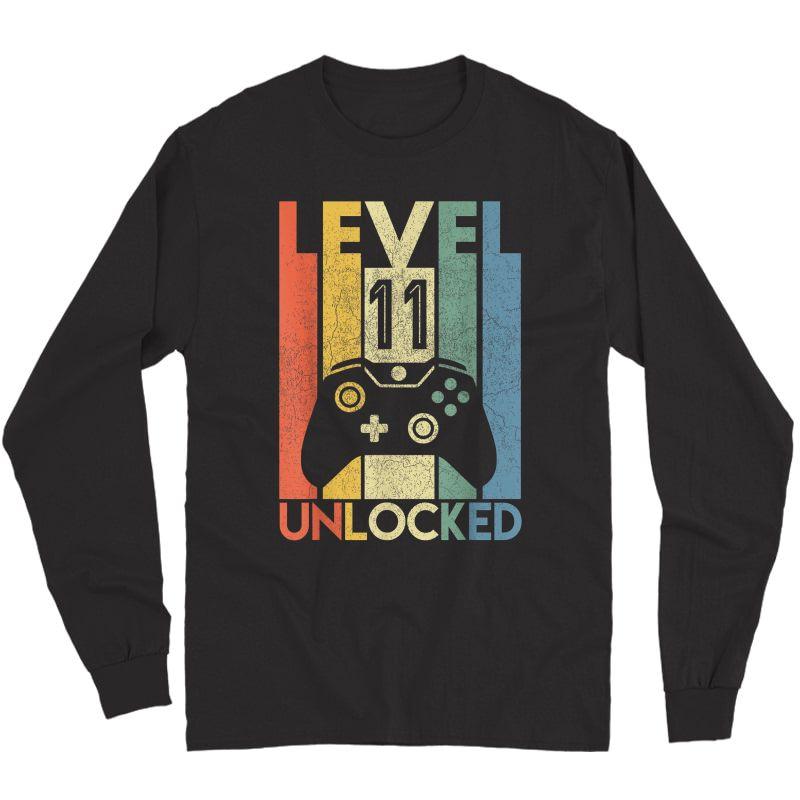 Level 11 Unlocked Shirt Funny Video Gamer 11th Birthday Gift T-shirt Long Sleeve T-shirt