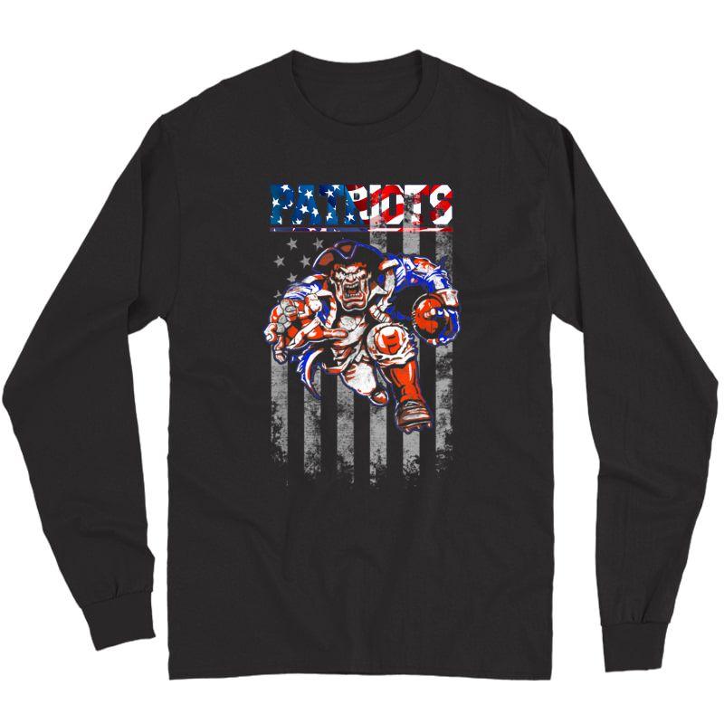 Loves Football-new England Fans Patriot Football Shirt Flag Long Sleeve T-shirt