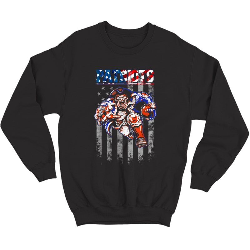 Loves Football-new England Fans Patriot Football Shirt Flag Crewneck Sweater