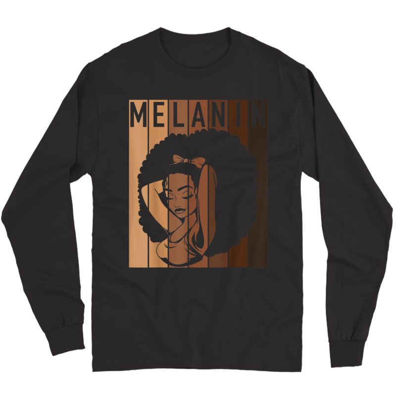Melanin Tee Afro Woman Christmas Gift For Mom Wife Daughter T-shirt Long Sleeve T-shirt