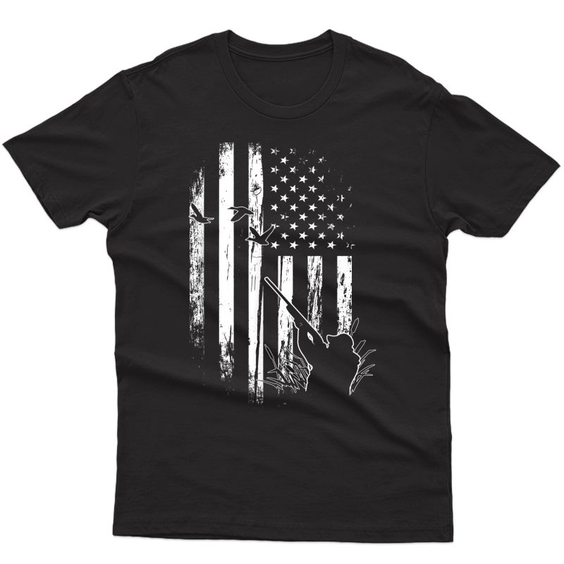 S Duck Hunting American Flag Usa Hunters T-shirt Gift For