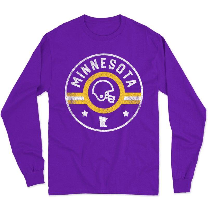 Minnesota Football Stars And Stripes Mn Outline T-shirt Long Sleeve T-shirt