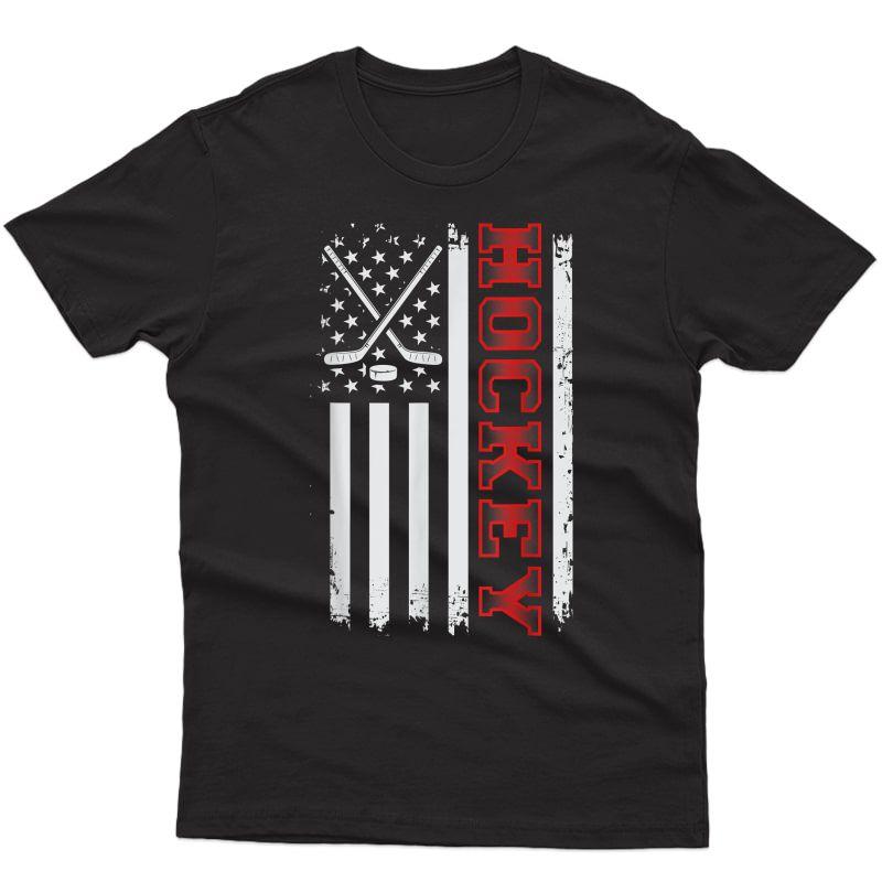Patriotic American Goalie Us Flag Hockey Stick Hockey T-shirt